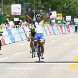 OCBC Singapore Pro Cycling Team rider Eric Sheppard (back) crosses the finish line in second place in Stage 7 of the Tour de Korea on Saturday in Hongcheon, Korea.