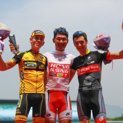 OCBC Singapore Pro Cycling Team rider Eric Sheppard (right) poses with Team Hong Kong China's Cheung Kinglok (middle) and MTN-Qhubeka's Louis Meintjes on the podium after Stage 8 of the Tour de Korea on Sunday in Hanam, Korea. Cheung won the white jersey awarded to the Tour de Korea's Best Young Rider, while Meintjes came in second and Sheppard third in the Best Young Rider competition.