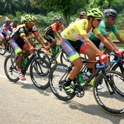 OCBC Singapore Pro Cycling Team rider Loh Sea Keong (in yellow) competes in Stage 4 of Jelajah Malaysia on Saturday in Malacca, Malaysia.