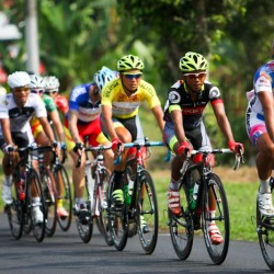 OCBC Singapore Pro Cycling Team rider Loh Sea Keong (in yellow) cycles behind OCBC teammate Low Ji Wen (in black) during Stage 3 of Jelajah Malaysia on Friday in Pontian, Malaysia.