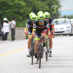 Eric Sheppard serves as the lead rider for the OCBC Singapore Pro Cycling Team during the team time trial event in Stage 5 of the Tour de Korea on Thursday in Chungju, Korea.