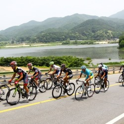 OCBC Singapore Pro Cycling Team riders (from left) Thomas Rabou, Jason Christie and Luke Parker compete in Stage 8 of the Tour de Korea on Sunday in Hanam.