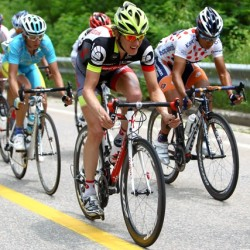 OCBC Singapore Pro Cycling Team rider Thomas Rabou (in yellow helmet) competes in Stage 7 of the Tour de Korea on Sunday in Hongcheon.
